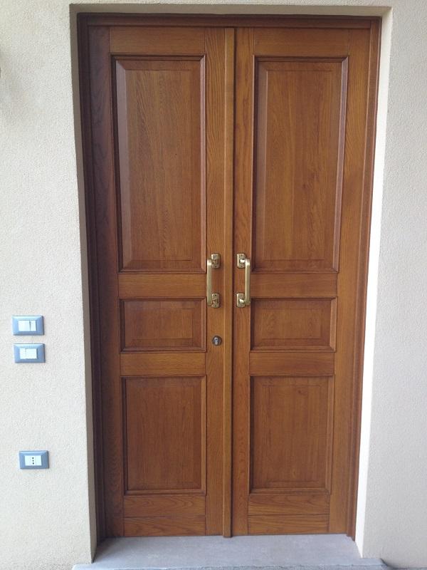 Portoncino d'ingresso in legno con inserti in vetro decorato FB F.lli Barbiero Serramenti